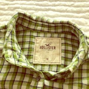 Hollister green plaid flannel button down